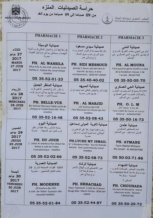 صيدليات الحراسة بمدينة مكناس والنواحي