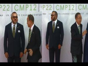 لقطة اليوم : موقف محرج لبانكيمون أمام الملك محمد السادس