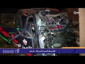 فيديو مصرع أربعة رجال الأمن إثر اصطدام سيارتهم بقنطرة واد بهت